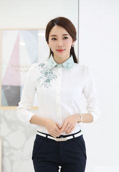 12 Simple Formal Dresses, Stylish Shirts, Shirt Embroidery, Pretty Woman, Shirt Blouses, Shirt Style, Ruffle Blouse, Sewing, Ideas
