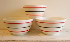 Vintage Fire King Vitrock bowls, set of 3, white with black and red strips, circa 1940