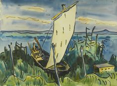 Karl Schmidt-Rottluff - Sailboat by the Banks of Lake Leba [1939]