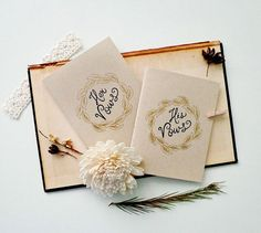 Wedding Vow Books. His vows - Her vows. Golden wreath. Rustic Wedding ceremony. Set of 2 books. VB459