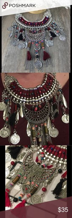 """Necklace Boho, Tribal, Ethnic,  Statement Choker A fun Fashion Power choker Statement Bohemian necklace, pendants Vintage Coins. Tribal, Ethnic fashion statement!  Charms and coins are not real silver,etc. measurements approximately 5 1/2"""" from necklace to end of charms/tassels. 061420171409480 Jewelry Necklaces"""