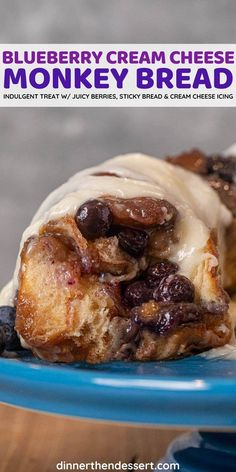 Blueberry Cream Cheese Monkey Bread is the ultimate indulgent treat with sticky bread mixed with juicy blueberries and topped with cream cheese icing. #dessert #monkeybread #blueberries #creamcheese #creamcheesefrosting #dinnerthendessert