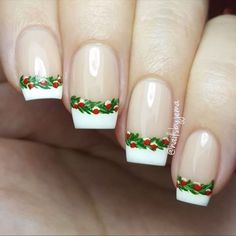 Newest Christmas Nail Ideas for Christmas Sweater Nail Art Designs Ideas; easy and cute Christmas nails; French Tip Nail Designs, Simple Nail Art Designs, French Tip Nails, French Tips, Nail Art Yellow, Nail Art Pastel, White Nail, Cute Christmas Nails, Xmas Nails