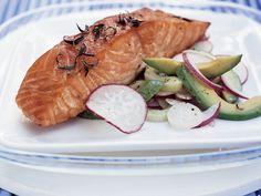Ten-Minute Smoked Salmon with Avocado-Radish Salad Recipe - Marcia Kiesel Pan Seared Salmon, Roasted Salmon, Grilled Salmon, Baked Salmon, Salmon Pasta, Salmon Dishes, Salmon Recipes, Seafood Recipes, Pisces