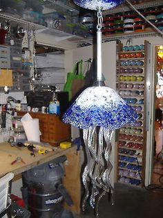 Hand Blown Glass Chandelier - Jellyfish Light - Jellyfish Chandelier - Cobalt