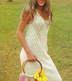 Летнее филейное платье. Схема вязания крючком