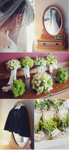 I love this idea - one flower of each type for the bridesmaids' boquets and then a mix of the same flowers for the bride.  Special.