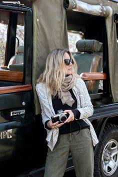 """Love this color palette for an African safari adventure! Don't need to wear """"safari clothing"""" to dress appropriately for an adventurous trip like this. Read this packing list to learn more: http://travelfashiongirl.com/safari-clothing-packing-list-what-to-wear-on-an-overland-africa-trip/ @travlfashngirl"""