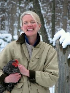 New England Style | Tan barn coat | Snow | Muffy Aldrich and her chicken from MuffyAldrich.com