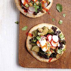Roasted Zucchini and Black Bean Tostadas with Crisp Radish Relish | Cooking Light #myplate #protein #veggies