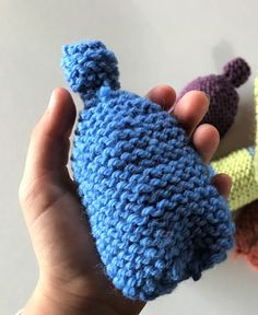 Blue knitted water bomb