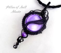 Wire Wrapped Pendant necklace / black wire and purple mother of pearl beads / goth jewelry by PillarOfSaltStudio