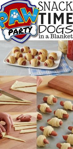 Paw Patrol Party Ideas + Theme Menu + Kids Birthday Food + Cheap Snacks for Children + Birthday on a Budget + Hot Dogs = Pillsbury Dogs in a Blanket ;)