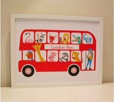 Items similar to Personalised London Bus Nursery Print - London zoo print -Baby Birth Print on Etsy Baby Prints, Nursery Prints, Nursery Art, Nursery Ideas, Bus Drawing, London Red Bus, Illustrations Vintage, Big Red Bus, Thing 1