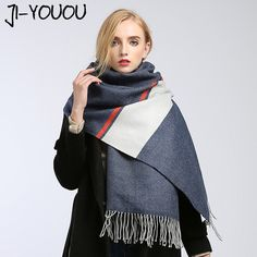Sale $13.77, Buy scarves women high fashion 2017 winter scarf plaid pashmina ladies scarves green scarf poncho and capes wool blanket oversized