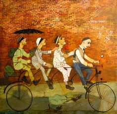 Old Street, by Otar Imerlishvili,* 1970 in Tbilisi, Georgia) Related Post:The Quebec General Election & the News The Quebec General Election In my post on the Quebec General Election… Art For Sale Online, Online Art, Bike Drawing, Art Deco Paintings, Art Web, Web Gallery, Picasa Web Albums, Bicycle Art, Russian Art