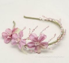 Lavender and Green Flower Crown Wedding Headband by BeSomethingNew