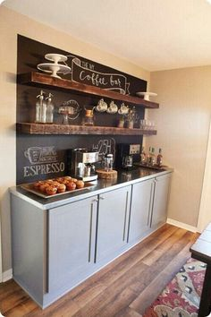 For color bar ... maybe not the chalk paint behind it , but I like that grey cabinets with the wood shelves