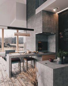 Cool Concrete Kitchen Design Inspiration Pictures - Home Decor İdeas Home Decor Kitchen, Interior Design Kitchen, Modern Interior Design, Interior Design Inspiration, Interior Architecture, Interior Decorating, Kitchen Ideas, Amazing Architecture, Decorating Ideas