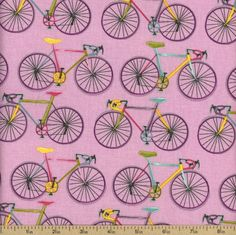 Homegrown Bicycles Cotton Fabric - Pink by Beverlys.com