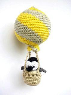 Hot air balloon decoration crochet penguin in a by Crochetonatree
