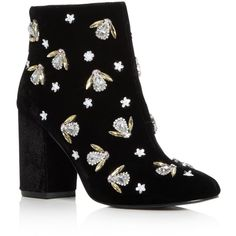 Kenneth Cole Women's Caylee Velvet Embellished Block Heel Booties (€220) ❤ liked on Polyvore featuring shoes, boots, ankle booties, black, embellished boots, black booties, black block heel boots, black boots and kenneth cole