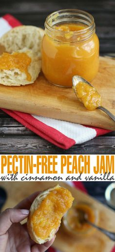 Pectin-Free Peach Jam with Cinnamon and Vanilla - this is a low sugar recipe compared to pectin-added recipes but full of flavour! Low Sugar Recipes, No Sugar Foods, Jam Recipes, Dessert Recipes, Cooking Recipes, Breakfast Recipes, Desserts, Cooking Ideas, Recipies