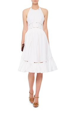 Cotton Poplin Halter Dress by ZAC POSEN Now Available on Moda Operandi