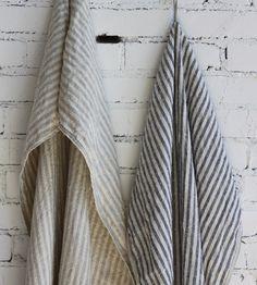 Striped Linen Bath Towel by Fog Linen
