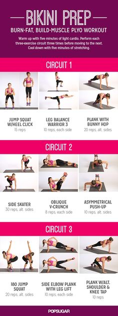 The nine moves in this circuit work your entire body, and half of them are plyo. More Bikinis Body, Website, Plyo Workout, Web Site, Bikinis Prep, Body Workout, Workout Circuit, Building Muscle, Circuit Workout Bikini Prep: Burn-Fat, Build-Muscle Plyo Workout circuit workout
