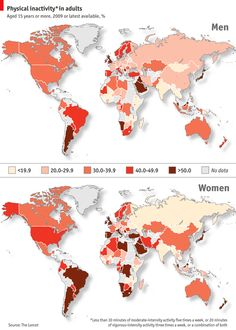 The study led by Pedro Hallal of the Federal University of Pelotas, is the most complete portrait yet of the world's busy bees and couch potatoes. Dr Hallal and his colleagues pooled data from health surveys for 122 countries, home to 89% of the world's population. (July 2012) ~ The Economist