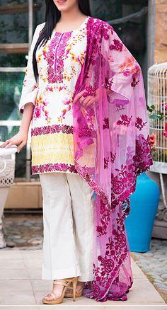 Buy White Embroidered Cotton Lawn Dress by Kalyan 2016