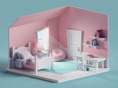Quick Cute Room On Behance In 2019 Isometric Art Girl Bedroom Designs, Modern Bedroom Design, Room Ideas Bedroom, Isometric Art, Isometric Design, Motion Design, 3d Design, House Design, Modelos 3d
