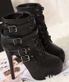 c40124fa160c Sexy Vintage Style Buckle Ultra High Heel Faux Bootie Boots