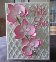 Card designed by Leslie-Ann Bailey & Susan Risbey using Dee's Distinctively Orchid 1, Background 1, With Love, Secret Garden Flower Stems.