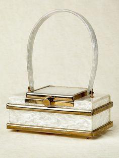 Vintage 1950s White Pearlescent Lucite Box Handbag • Revival Vintage Boutique on Etsy, $375.00