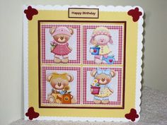 Garden teddy bears team card with toppers and decoupage on Craftsuprint designed by Angela Wake - made by Wayne  Swan
