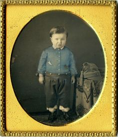 1 6 Plate Daguerreotype of Little Boy w Blue Tinted Shirt Awesome Little Hat | eBay