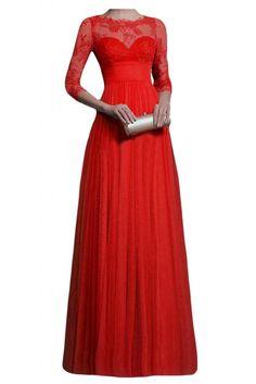 Gorgeous Bride Modisch Empire Tuell Spitze Lang Abendkleider Festkleider Ballkleider -56 Rot