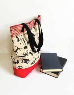 Large Cat Print Tote Bag  Cotton Canvas and by MyCottonHouse