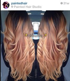 Dark root blended into rose gold