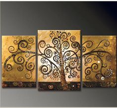 Hand Painted Canvas Abstract Oil Painting Tree Multi Panel 3 piece Canvas Wall Art Large Home Office Decoration Unframed-in Painting & Calli...
