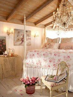 That bedding and the chandelier are darling! I'm not feeling the rest of the room though...