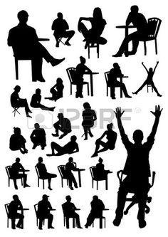 Sitting people silhouettes Stock Vector