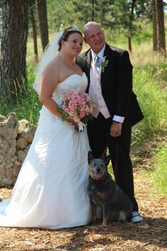 Melinda and Nathan - bride and groom with their dog