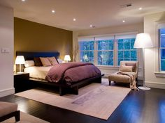 Love the dark flooring and accent wall.