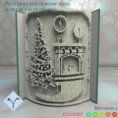 Book Folding Templates, Book Folding Patterns, Art Patterns, Pattern Art, Free Pattern, Christmas Books, Christmas Tree, Cut And Fold Books, Art Cut