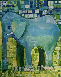 Elephants Paintings - Blue Elephant by Donna Howard Painted Indian Elephant, African Forest Elephant, Asian Elephant, Elephant Love, Elephant Artwork, Elephant Sanctuary, Elephant Figurines, Paintings For Sale, Fine Art America