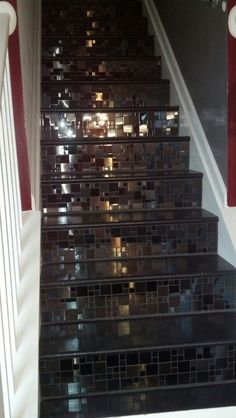 We added various textured tiles to risers of our stairs for a sophisticated look.