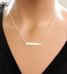 Sterling Silver Bar Pendant Necklace - Wedding nacklaces (*Amazon Partner-Link)